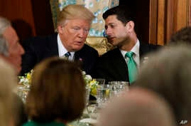 President Donald Trump talks with House Speaker Paul Ryan on Capitol Hill, March 16, 2017. Trump has told fellow Republicans to pass their health care bill Friday or the Affordable Care Act will stay in place.