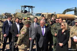 U.S. Defense Secretary Jim Mattis and U.S. Secretary of Homeland Security Kirstjen Nielsen tour Base Camp Donna in Donna, Texas, Nov. 14, 2018.