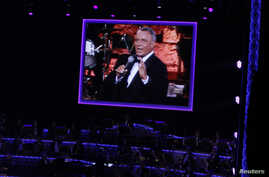 General view showing an image of Frank Sinatra on screen during Sinatra 100 - An All-Star Grammy Concert in Las Vegas, Dec.12, 2015.