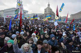 Pro-European integration protesters attend a rally at Independence square in Kyiv, Jan. 12, 2014.