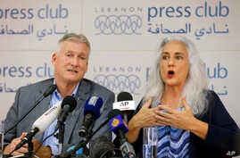 Marc and Debra Tice, the parents of Austin Tice, who is missing in Syria for nearly five years, speak during a press conference, at the Press Club, in Beirut, Lebanon, Thursday, July 20, 2017.