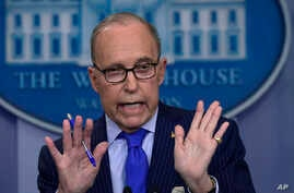 Senior White House economic adviser Larry Kudlow speaks during a briefing at the White House in Washington, June 6, 2018, on the upcoming G-7 summit.