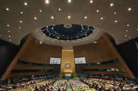 FILE - The General Assembly hall during the 67th United Nations General Assembly at U.N. Headquarters in New York, Sept. 27, 2012.