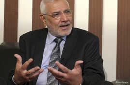 Egyptian presidential candidate Abdel Moneim Abol Fotouh speaks during an interview with Reuters in Cairo, April 24, 2012.