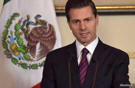 Mexican President Enrique Pena Nieto addresses the media at the Mexican embassy in Paris, France, July 12, 2015.