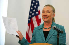 US Secretary of State Hillary Clinton during a press conference in East Timor, Sept 6, 2012