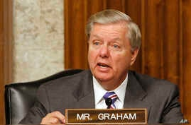 Sen. Lindsey Graham, R-S.C. speaks on Capitol Hill in Washington, July 11, 2017, during a hearing of the Senate Armed Services committee on the nomination of Richard Spencer to be the Navy Secretary.