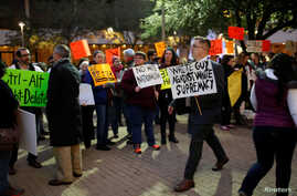 Protesters rally against white nationalist leader Richard Spencer of the National Policy Institute, who spoke at an event not sanctioned by the school, at Texas A&M University in College Station, Texas, Dec. 6, 2016.