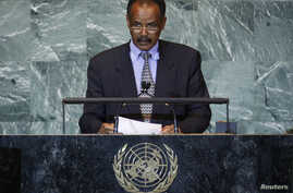 FILE - Eritrea's President Isaias Afwerki addresses the United Nations General Assembly at the U.N. headquarters, in New York, Sept. 23, 2011.