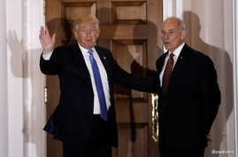 FILE - U.S. President-elect Donald Trump appears with retired Marine Corps General John Kelly outside the main clubhouse after their meeting at Trump National Golf Club in Bedminster, New Jersey, Nov. 20, 2016.