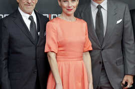 Director Steven Spielberg, actress Amy Ryan and actor Tom Hanks, from left, arrive for the International Premiere of the movie 'Bridge of Spies' in Berlin, Germany, Nov. 13, 2015.