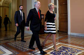 Senate Majority Leader Mitch McConnell leaves the Senate floor following a healthcare vote on Capitol Hill in Washington, July 26, 2017.