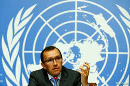 United Nations Special Advisor on Cyprus Espen Barth Eide attends a news conference one day before peace talks on divided Cyprus are to resume in Crans-Montana, in Geneva, Switzerland, June 27, 2017.
