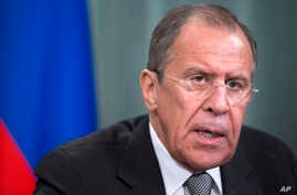 Russian Foreign Minister Sergey Lavrov at a news conference  in Moscow, April 14, 2014.
