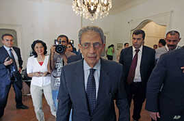 Egyptian presidential candidate Amr Moussa before a press conference in Cairo, May 16, 2012. (AP)