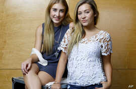 Maddie Marlow, left, and Tae Dye, of Maddie & Tae, pose for a portrait at Love Shack Studio in Nashvile, Tennessee, Aug. 27, 2015.
