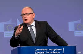 European Commission Vice-President Frans Timmermans speaks during a media conference at EU headquarters in Brussels, June 1, 2016. A senior European Union official on Wednesday said the bloc has found that Poland's government is amiss on the rule of