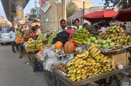 India's informal sector includes many workers selling fruits, vegetables and other wares.