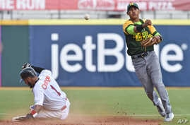 Cuban National baseball team shortstop Dainer Moreira(R) forcing out Dominican National baseball team outfielder Leury Garcia (1) at second base as the teams play in the Serie Del Caribe, in San Juan, Puerto Rico, Feb. 3, 2015.