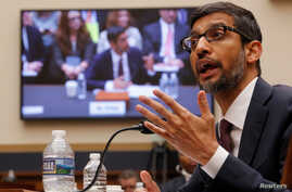 "Google CEO Sundar Pichai testifies at a House Judiciary Committee hearing ""examining Google and its Data Collection, Use and Filtering Practices"" on Capitol Hill in Washington, Dec. 11, 2018."