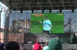 Football fans in Johannesburg, South Africa can watch the action outside the stadiums in FIFA-sponsored fan parks