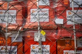 Pallets of supplies wait to be loaded to a 747 aircraft, New York's John F. Kennedy International Airport, Sept. 20, 2014.