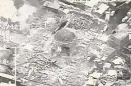 A still image taken from video shows a close up of the the destroyed Grand al-Nuri Mosque of Mosul in Iraq, June 21, 2017.