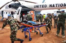 The UN Mission in South Sudan helped to medevac hundreds of wounded from Manyabol to Bor, the capital of Jonglei state, on Sunday, July 14.