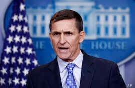 "National Security Adviser Michael Flynn speaks during the daily news briefing at the White House, in Washington, Feb. 1, 2017. Flynn said the administration is putting Iran ""on notice"" after it tested a ballistic missile."