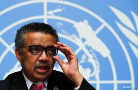 Director-General of the World Health Organization Dr. Tedros Adhanom Ghebreyesus attends a news conference at the United Nations in Geneva, Feb, 7, 2018.