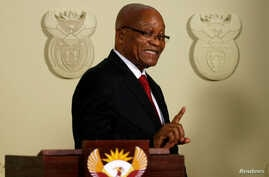 FILE - South Africa's President Jacob Zuma announces his resignation at the Union Buildings in Pretoria, South Africa, Feb. 14, 2018.
