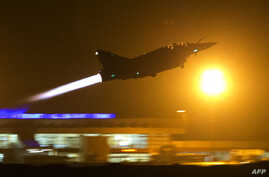 A French Mirage 2000 fighter jet of the Nancy-based 3/3 Fighter Squadron Ardennes takes off early  for a Close Air Support (CAS) mission from Bamako's airport, Mali.