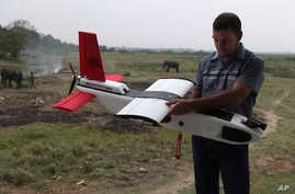 FILE - A mahout walks past with an elephant used for tourist rides as  Remo Peduzzi, Managing Director, Research Drones LLC Switzerland prepares to fly an unmanned aircraft or drone at the Kaziranga National Park at Kaziranga in Assam state, India, M
