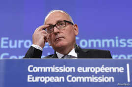 European Commission First Vice-President Frans Timmermans gives a news conference at the European Commission headquarters in Brussels, Belgium Jan.13, 2016.