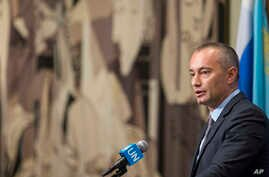 Nickolay Mladenov, United Nations Special Coordinator for the Middle East Peace Process, speaks to reporters about the situation in Israel outside Security Council chambers, July 24, 2017, at U.N. headquarters.