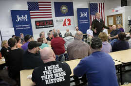 Jeb Bush, a Republican presidential candidate and former Florida governor, campaigns at the Sturm, Ruger & Co. Inc. firearms plant in Newport, N.H., Jan. 21, 2016.