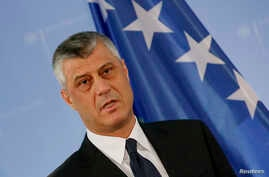 Kosovo's Foreign Minister Hashim Thaci speaks to the media prior to  a meeting with German counterpart Frank-Walter Steinmeier in Berlin, March 2, 2015.