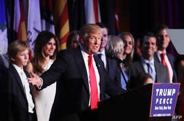 Republican President-elect Donald Trump delivers his acceptance speech during his election night event at the New York Hilton Midtown in New York City, Nov. 9, 2016.