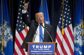 Republican presidential candidate Donald Trump speaks during a campaign rally in Bridgeport, Conn., April 23, 2016.