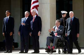 (L-R) President Barack Obama, former presidents George W. Bush, Bill Clinton, George H.W. Bush, and Jimmy Carter (R) at the dedication of the George W. Bush presidential library on the campus of Southern Methodist University in Dallas, April 25, 2013