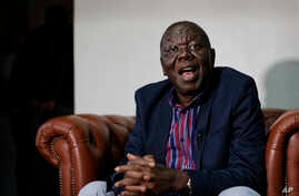 FILE - Zimbabwe opposition leader Morgan Tsvangirai speaks to the Associated Press after giving a press conference at his home in Harare, Zimbabwe, Nov. 16, 2017.