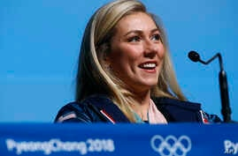 Alpine skier Mikaela Shiffrin of the United States speaks at a news conference at the 2018 Winter Olympics in Pyeongchang, South Korea, Feb. 23, 2018.