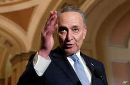 Senate Minority Leader Chuck Schumer, D-N.Y., speaks to reporters ahead of President Donald Trump's first State of the Union address, at the Capitol in Washington, Jan. 30, 2018.