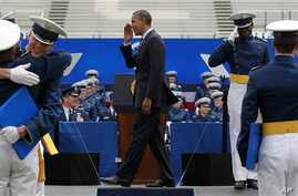 President Barack Obama congratulates graduates of the 2012 class of the U.S. Air Force Academy in Colorado Springs, Colorado, May 23, 2012.
