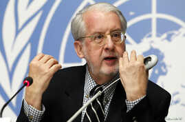 United Nations Independent Commission of Inquiry on Syrian Arabic Republic Chairman Paulo Pinheiro speaks during a news conference at U.N. European headquarters in Geneva, Switzerland, Feb. 8, 2016.