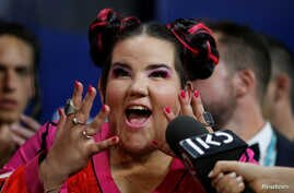 Israel's Netta attends the news conference after winning the Grand Final of Eurovision Song Contest 2018 at the Altice Arena hall in Lisbon, Portugal, May 13, 2018.