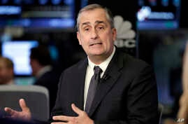 "Intel CEO Brian Krzanich is interviewed on the floor of the New York Stock Exchange, March 13, 2017. Krzanich resigned from the American Manufacturing Council to call attention to America's ""divided political climate."""