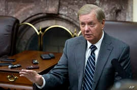 Sen. Lindsey Graham, R-S.C., speaks with reporters in the Senate Press Gallery on Capitol Hill, in Washington, Nov. 15, 2016.
