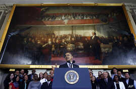 President Barack Obama speaks about the federal health care law, at historic Faneuil Hall in Boston, Oct. 30, 2013.