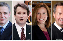 FILE - Federal appeals court judges, from left: Raymond Kethledge, Brett Kavanaugh, Amy Coney Barrett, and Thomas Hardiman, being considered by President Donald Trump for the U.S. Supreme Court, are seen in this combination photo from files.